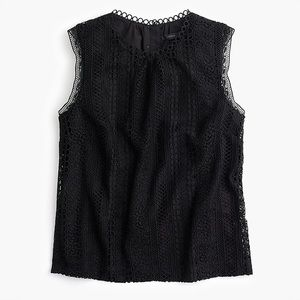 J. Crew Black Mixed Crochet Lace Tank Top